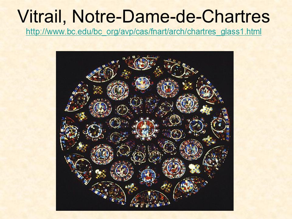 Vitrail, Notre-Dame-de-Chartres http://www.bc.edu/bc_org/avp/cas/fnart/arch/chartres_glass1.html http://www.bc.edu/bc_org/avp/cas/fnart/arch/chartres_