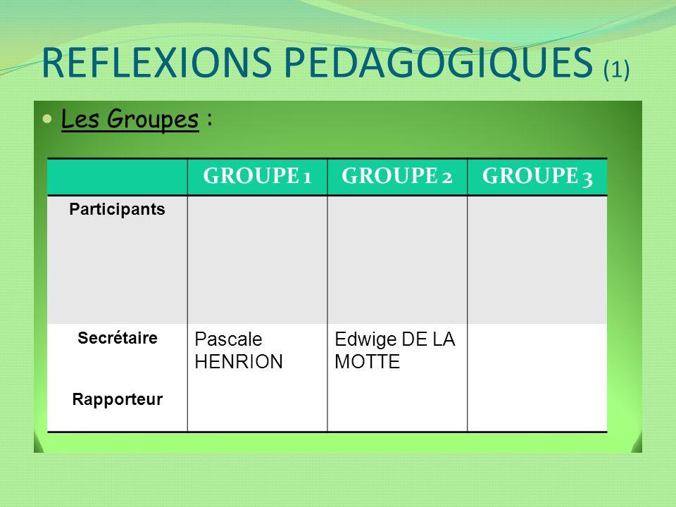 REFLEXIONS PEDAGOGIQUES (1) Les Groupes : GROUPE 1GROUPE 2GROUPE 3 Participants Secrétaire Rapporteur Pascale HENRION Edwige DE LA MOTTE