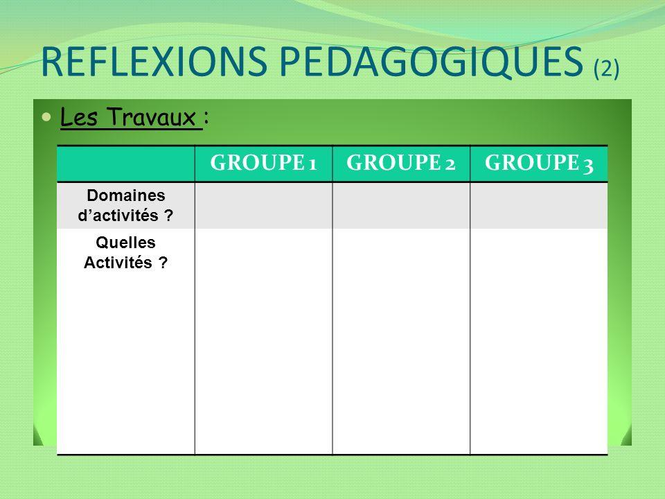 REFLEXIONS PEDAGOGIQUES (2) Les Travaux : GROUPE 1GROUPE 2GROUPE 3 Domaines dactivités ? Quelles Activités ?