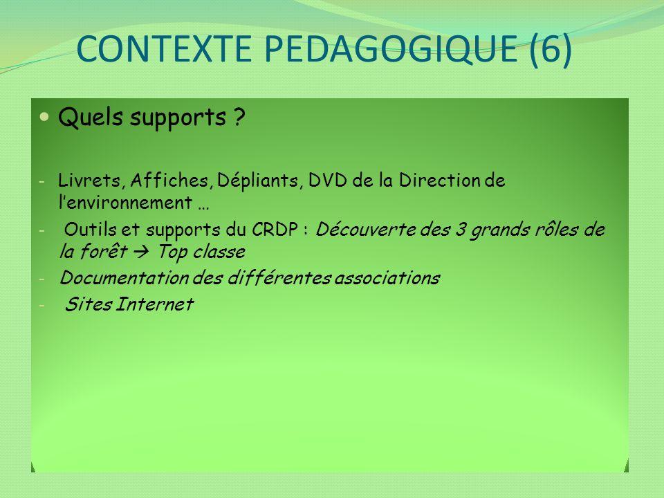 CONTEXTE PEDAGOGIQUE (6) Quels supports ? - Livrets, Affiches, Dépliants, DVD de la Direction de lenvironnement … - Outils et supports du CRDP : Décou