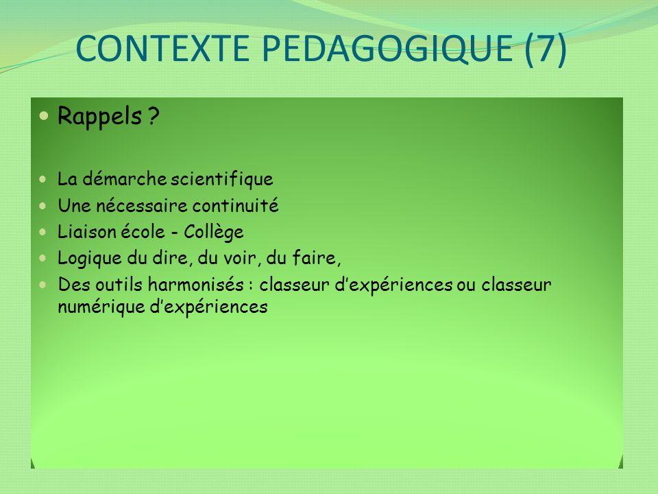 CONTEXTE PEDAGOGIQUE (7) Rappels ? La démarche scientifique Une nécessaire continuité Liaison école - Collège Logique du dire, du voir, du faire, Des