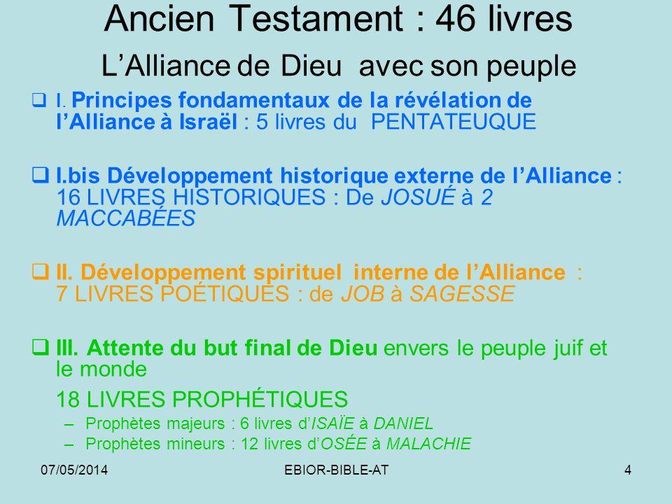 07/05/2014EBIOR-BIBLE-AT4 Ancien Testament : 46 livres LAlliance de Dieu avec son peuple I. Principes fondamentaux de la révélation de lAlliance à Isr