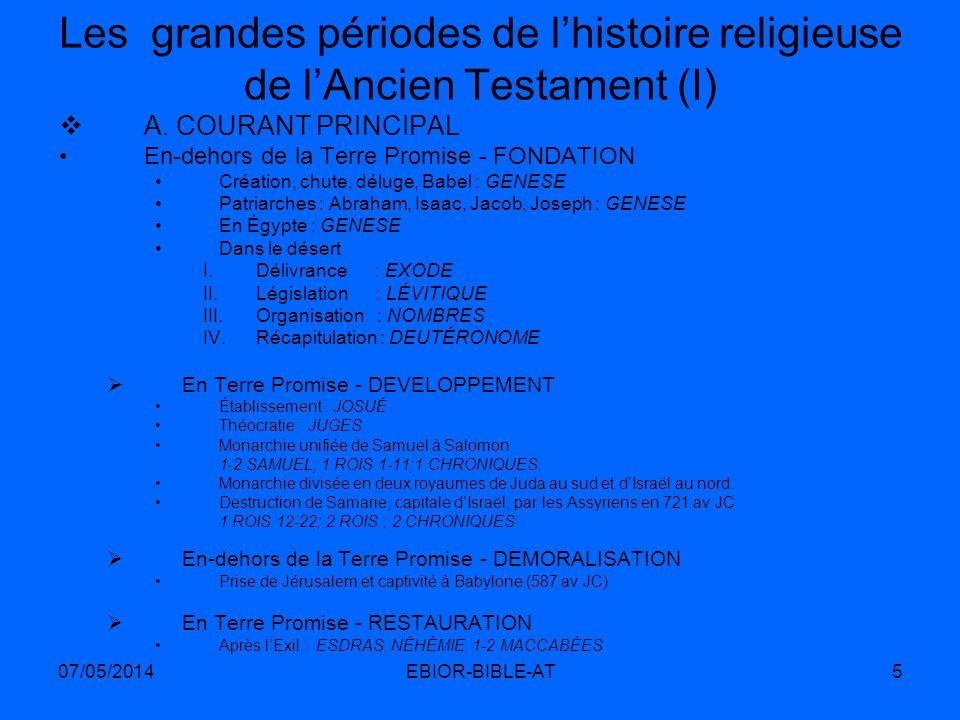 07/05/2014EBIOR-BIBLE-AT5 Les grandes périodes de lhistoire religieuse de lAncien Testament (I) A. COURANT PRINCIPAL En-dehors de la Terre Promise - F