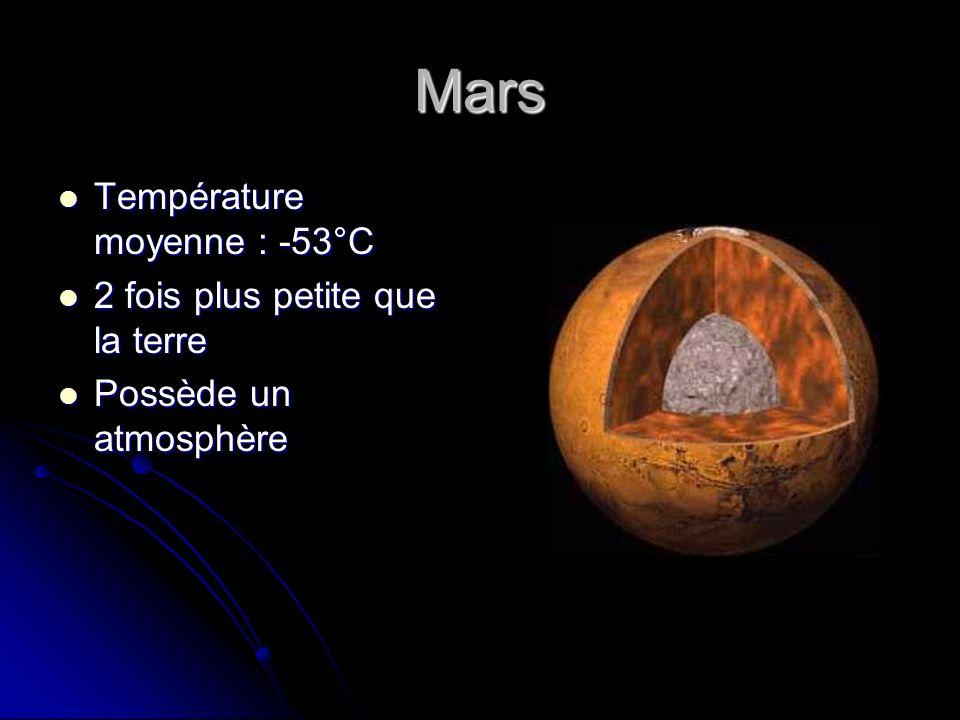 Mars Température moyenne : -53°C Température moyenne : -53°C 2 fois plus petite que la terre 2 fois plus petite que la terre Possède un atmosphère Pos