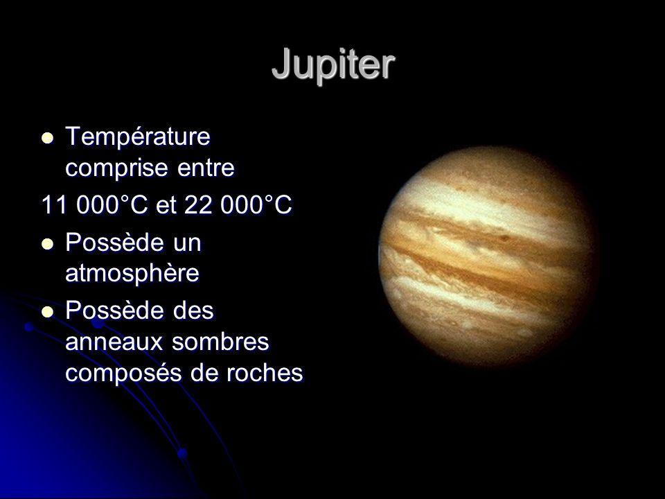 Jupiter Température comprise entre Température comprise entre 11 000°C et 22 000°C Possède un atmosphère Possède un atmosphère Possède des anneaux som