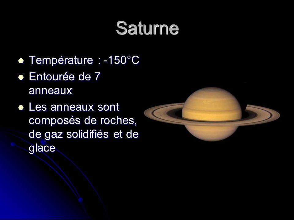 Saturne Température : -150°C Température : -150°C Entourée de 7 anneaux Entourée de 7 anneaux Les anneaux sont composés de roches, de gaz solidifiés e