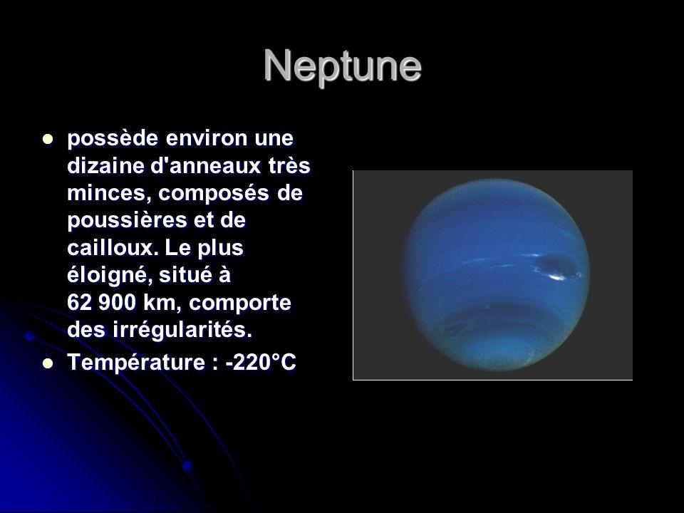 Neptune possède environ une dizaine d'anneaux très minces, composés de poussières et de cailloux. Le plus éloigné, situé à 62 900 km, comporte des irr