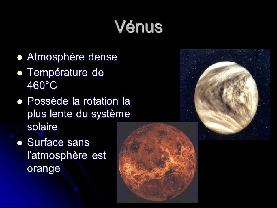 Vénus Atmosphère dense Atmosphère dense Température de 460°C Température de 460°C Possède la rotation la plus lente du système solaire Possède la rota