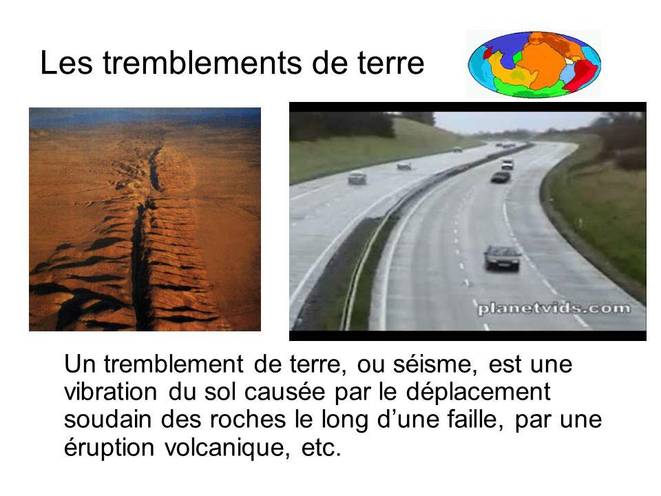 Les tremblements de terre Un tremblement de terre, ou séisme, est une vibration du sol causée par le déplacement soudain des roches le long dune faill