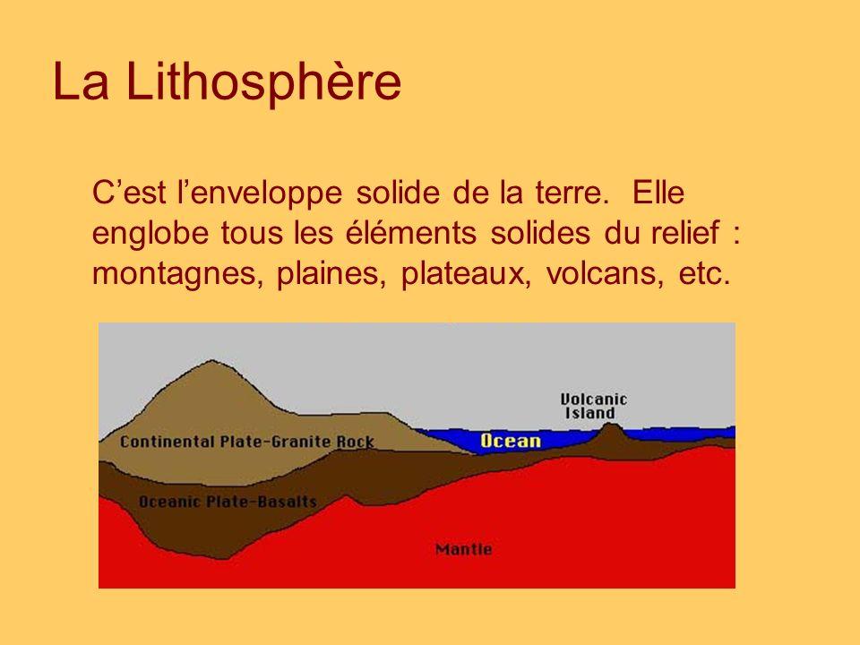 La Lithosphère Cest lenveloppe solide de la terre. Elle englobe tous les éléments solides du relief : montagnes, plaines, plateaux, volcans, etc.