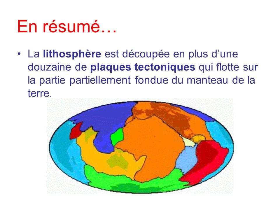 En résumé… La lithosphère est découpée en plus dune douzaine de plaques tectoniques qui flotte sur la partie partiellement fondue du manteau de la ter