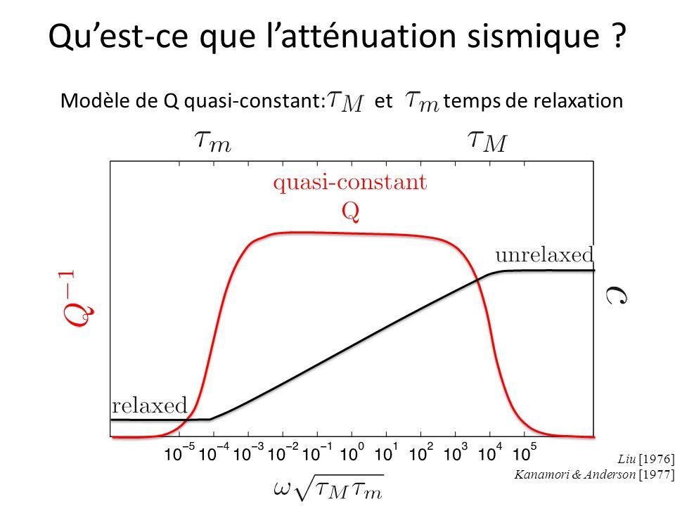 Modèle de Q quasi-constant: et temps de relaxation Liu [1976] Kanamori & Anderson [1977]