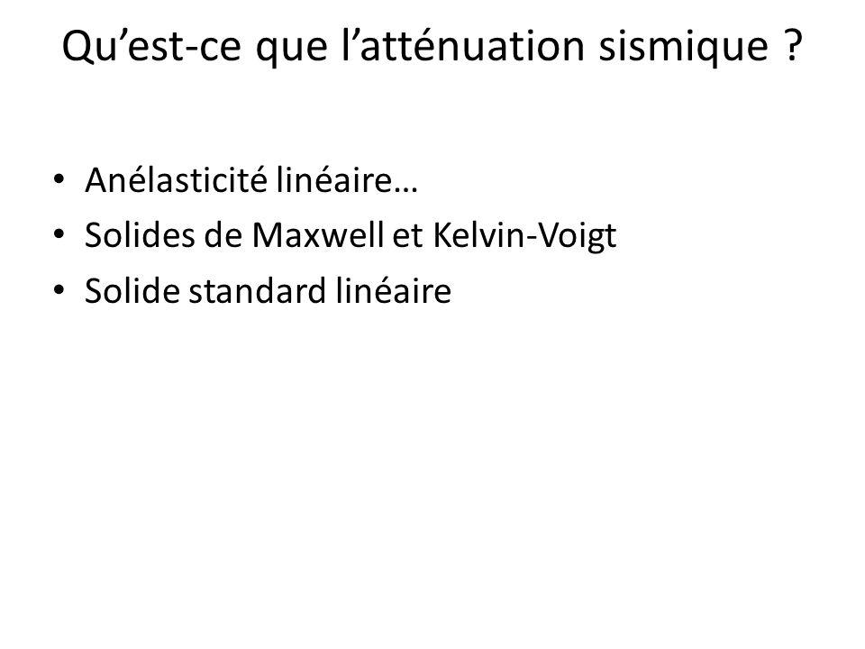 Anélasticité linéaire… Solides de Maxwell et Kelvin-Voigt Solide standard linéaire Quest-ce que latténuation sismique ?