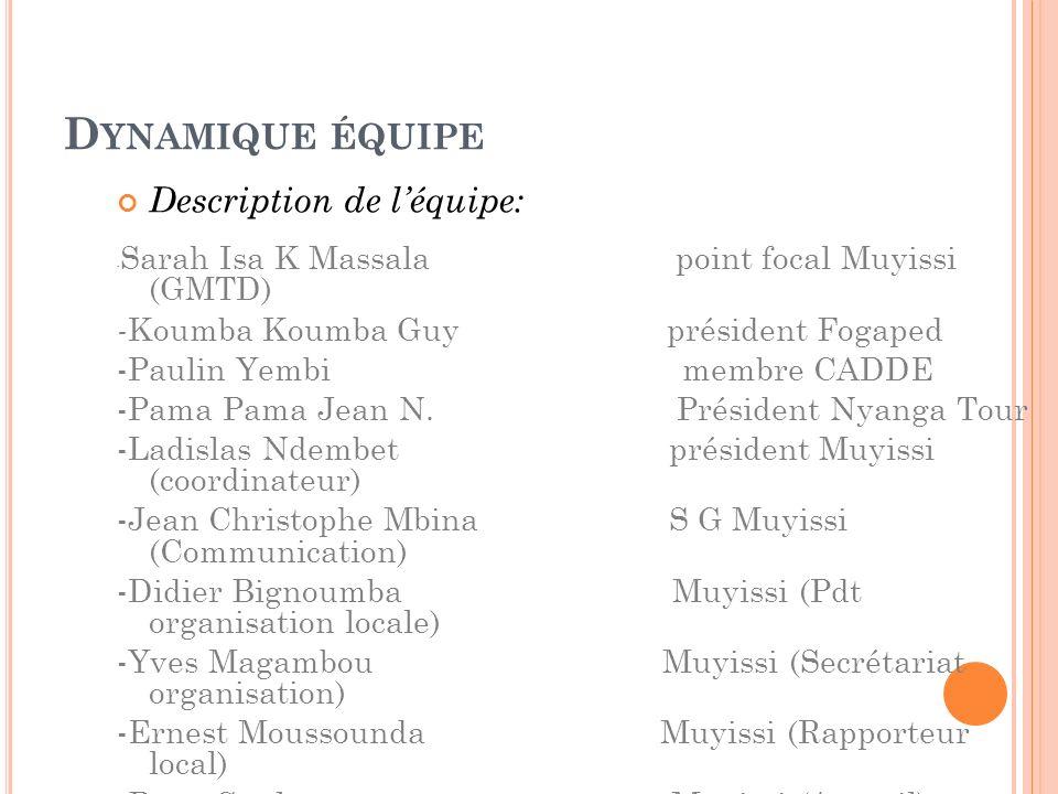 D YNAMIQUE ÉQUIPE Description de léquipe: - Sarah Isa K Massala point focal Muyissi (GMTD) - Koumba Koumba Guy président Fogaped -Paulin Yembi membre CADDE -Pama Pama Jean N.