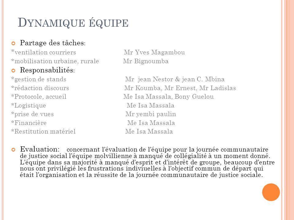 D YNAMIQUE ÉQUIPE Partage des tâches : * ventilation courriers Mr Yves Magambou *mobilisation urbaine, rurale Mr Bignoumba Responsabilités : *gestion de stands Mr jean Nestor & jean C.