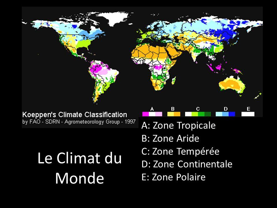 Le Climat du Monde A: Zone Tropicale B: Zone Aride C: Zone Tempérée D: Zone Continentale E: Zone Polaire