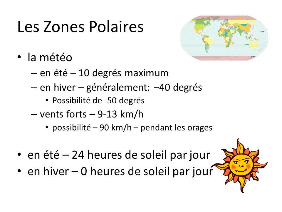 Les Zones Polaires la météo – en été – 10 degrés maximum – en hiver – généralement: –40 degrés Possibilité de -50 degrés – vents forts – 9-13 km/h pos