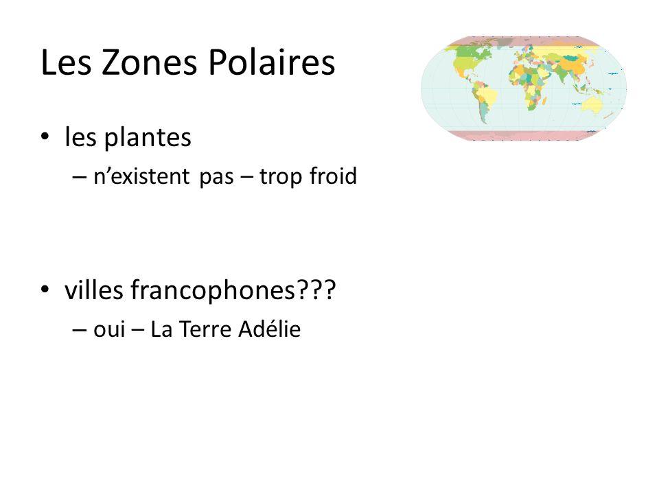 Les Zones Polaires les plantes – nexistent pas – trop froid villes francophones??? – oui – La Terre Adélie