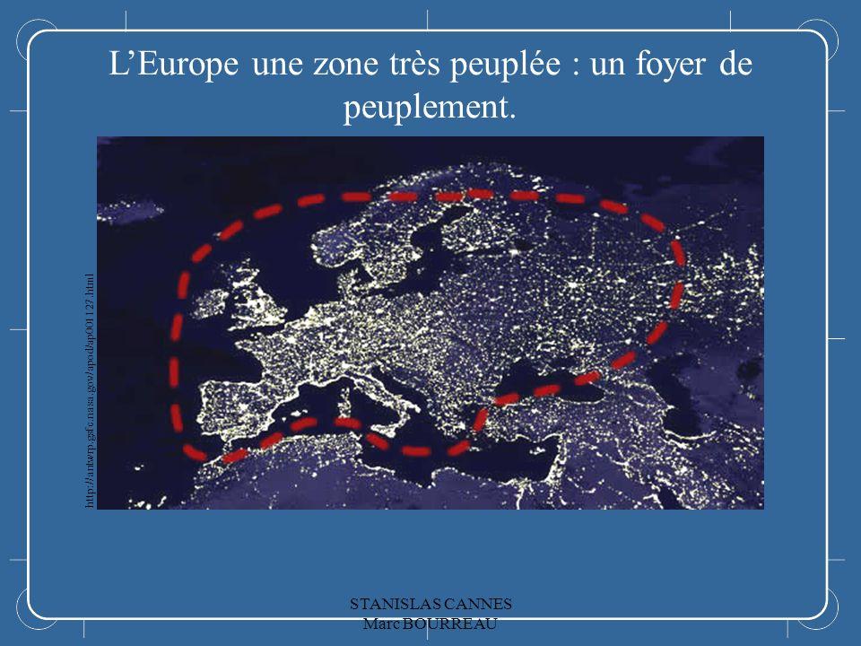 LEurope LEurope une zone très peuplée : un foyer de peuplement. http://antwrp.gsfc.nasa.gov/apod/ap001127.html STANISLAS CANNES Marc BOURREAU