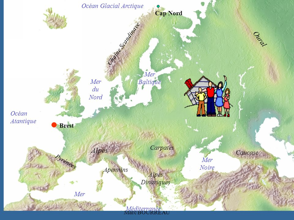 Océan Atantique Oural Mer Méditerranée Mer du Nord Mer Baltique Mer Noire Chaîne Scandinave Pyrénées Alpes Carpates Alpes Dinariques Océan Glacial Arctique Caucase Apennins Brest Cap Nord