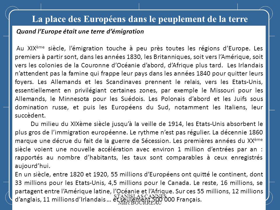 LEurope La place des Européens dans le peuplement de la terre Quand lEurope était une terre démigration Au XIX ème siècle, lémigration touche à peu pr