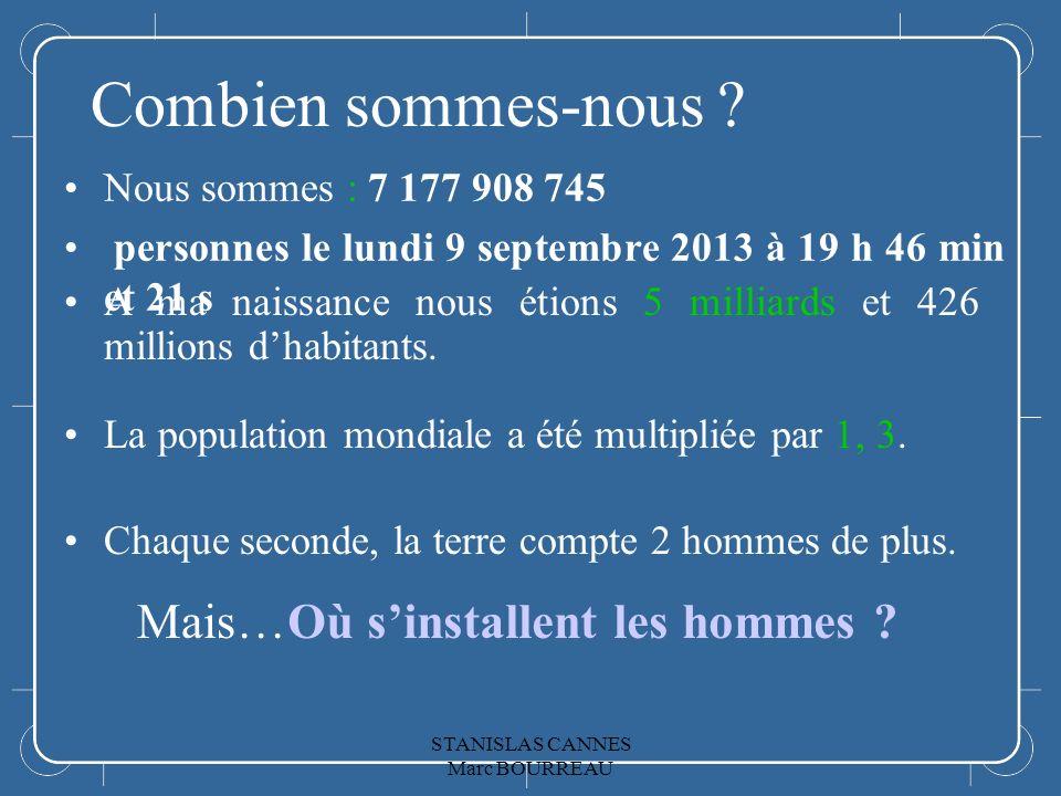 Combien sommes-nous ? Nous sommes : 7 177 908 745 personnes le lundi 9 septembre 2013 à 19 h 46 min et 21 s A ma naissance nous étions 5 milliards et