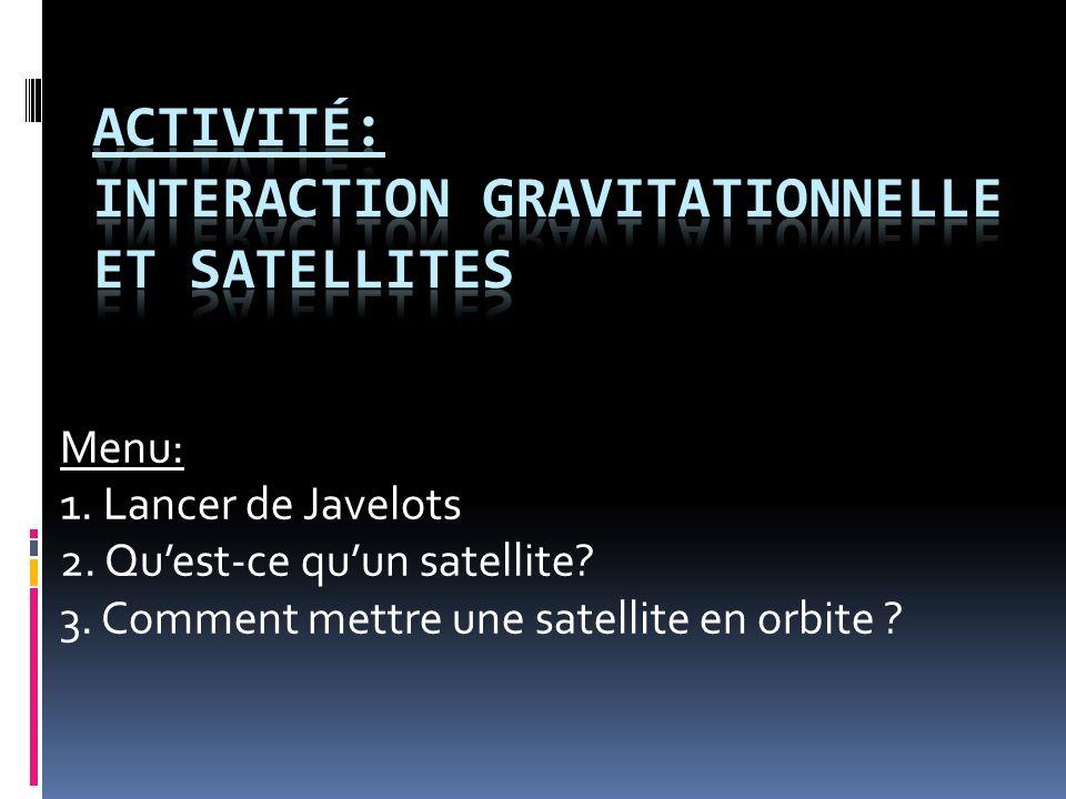 Menu: 1. Lancer de Javelots 2. Quest-ce quun satellite? 3. Comment mettre une satellite en orbite ?