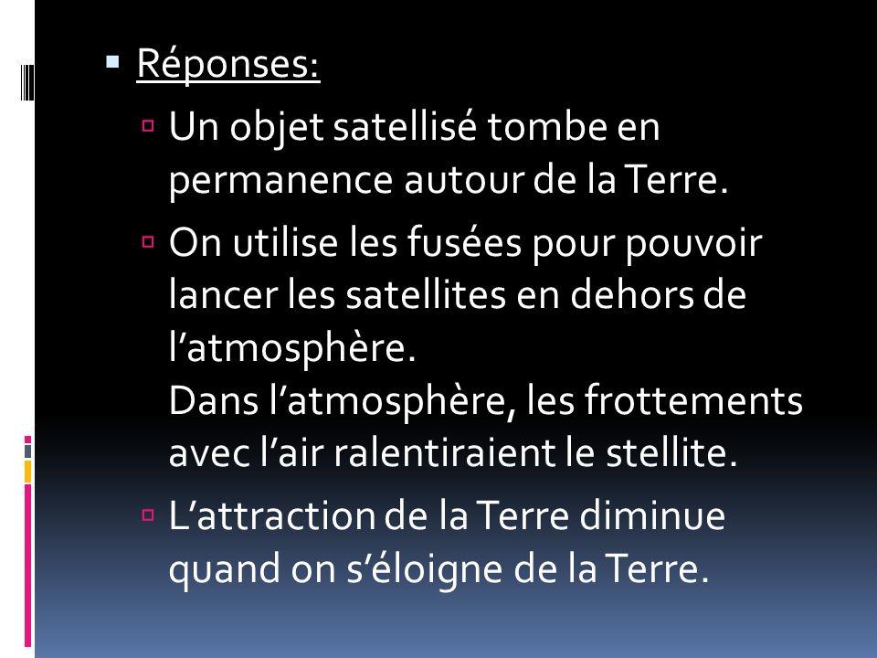 Réponses: Un objet satellisé tombe en permanence autour de la Terre.