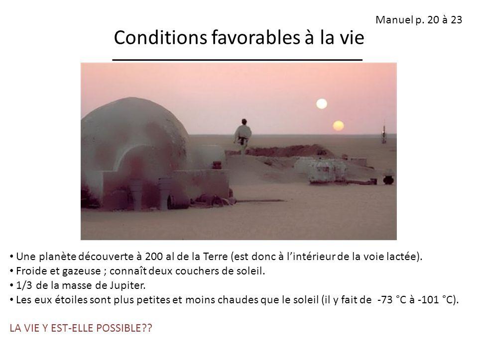 Conditions favorables à la vie Une planète découverte à 200 al de la Terre (est donc à lintérieur de la voie lactée). Froide et gazeuse ; connaît deux