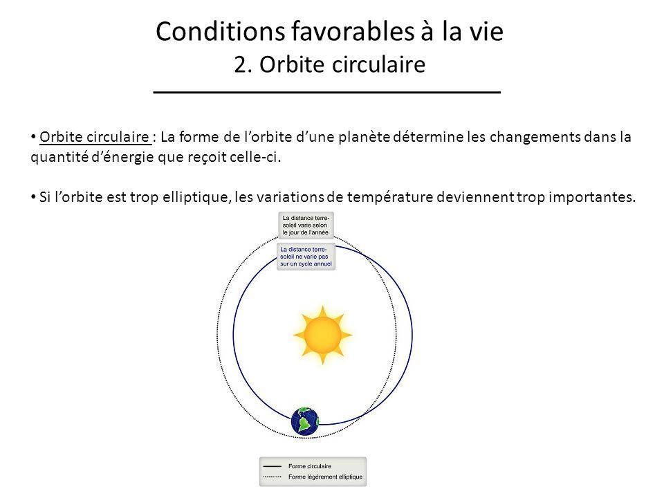 Conditions favorables à la vie 2. Orbite circulaire Orbite circulaire : La forme de lorbite dune planète détermine les changements dans la quantité dé