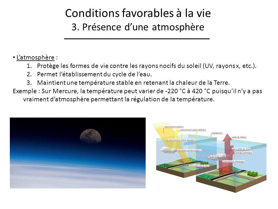Conditions favorables à la vie 3. Présence dune atmosphère Latmosphère : 1.Protège les formes de vie contre les rayons nocifs du soleil (UV, rayons x,