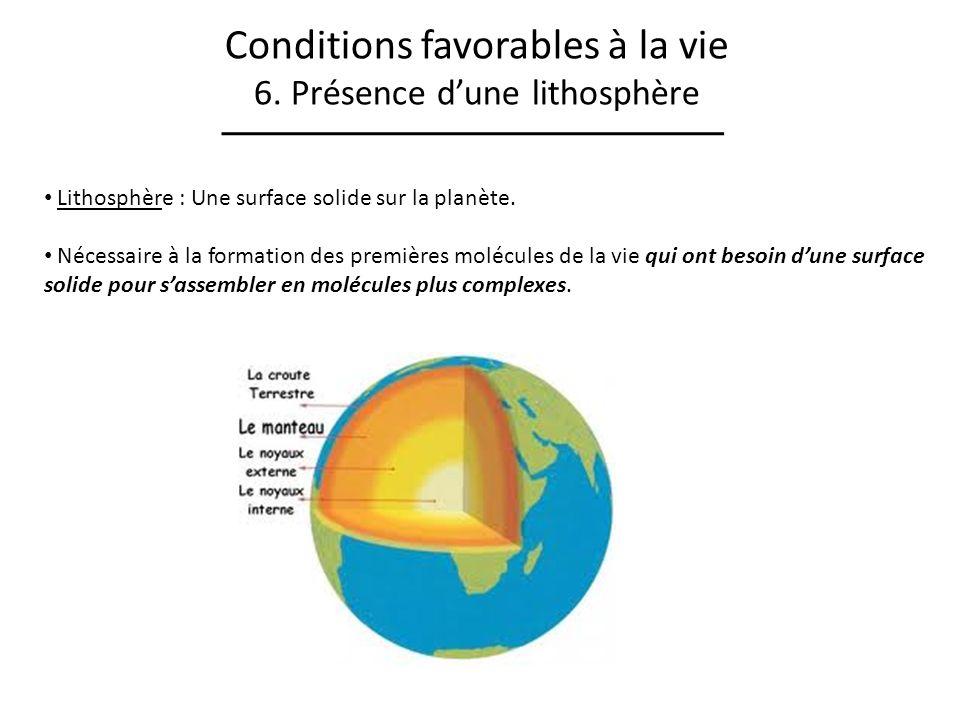Conditions favorables à la vie 6. Présence dune lithosphère Lithosphère : Une surface solide sur la planète. Nécessaire à la formation des premières m