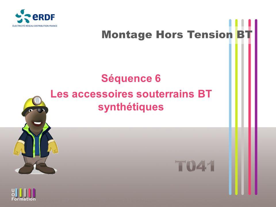 Séquence 6 : Les accessoires souterrains BT synthétiques Protection des tiers Accessoire injecté Un grillage métallique enroulé sur la totalité de laccessoire Accessoire coulé la demi-coquille est en matériaux conducteurs