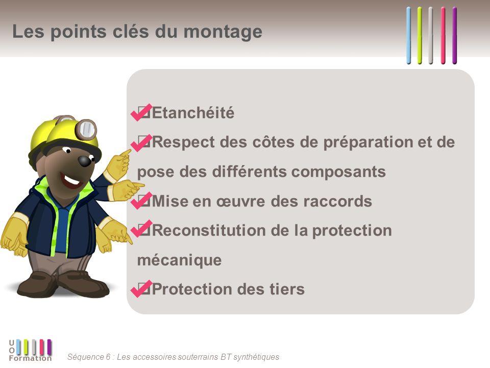 Séquence 6 : Les accessoires souterrains BT synthétiques Les points clés du montage Etanchéité Respect des côtes de préparation et de pose des différents composants Mise en œuvre des raccords Reconstitution de la protection mécanique Protection des tiers