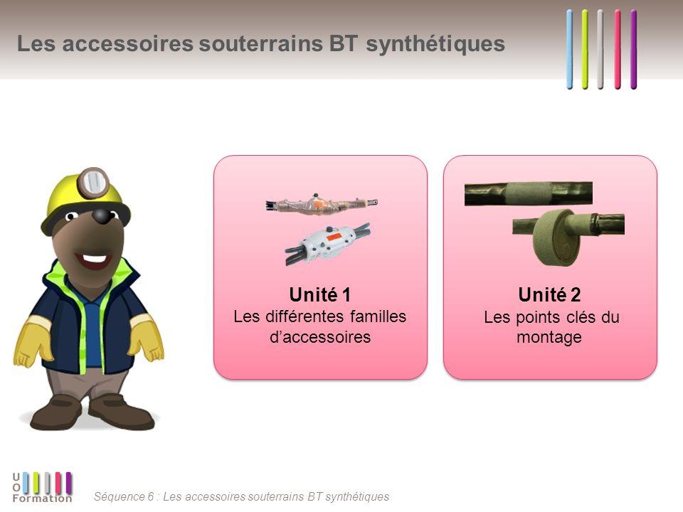 Séquence 6 : Les accessoires souterrains BT synthétiques Les accessoires souterrains BT synthétiques Unité 1 Les différentes familles daccessoires Unité 2 Les points clés du montage