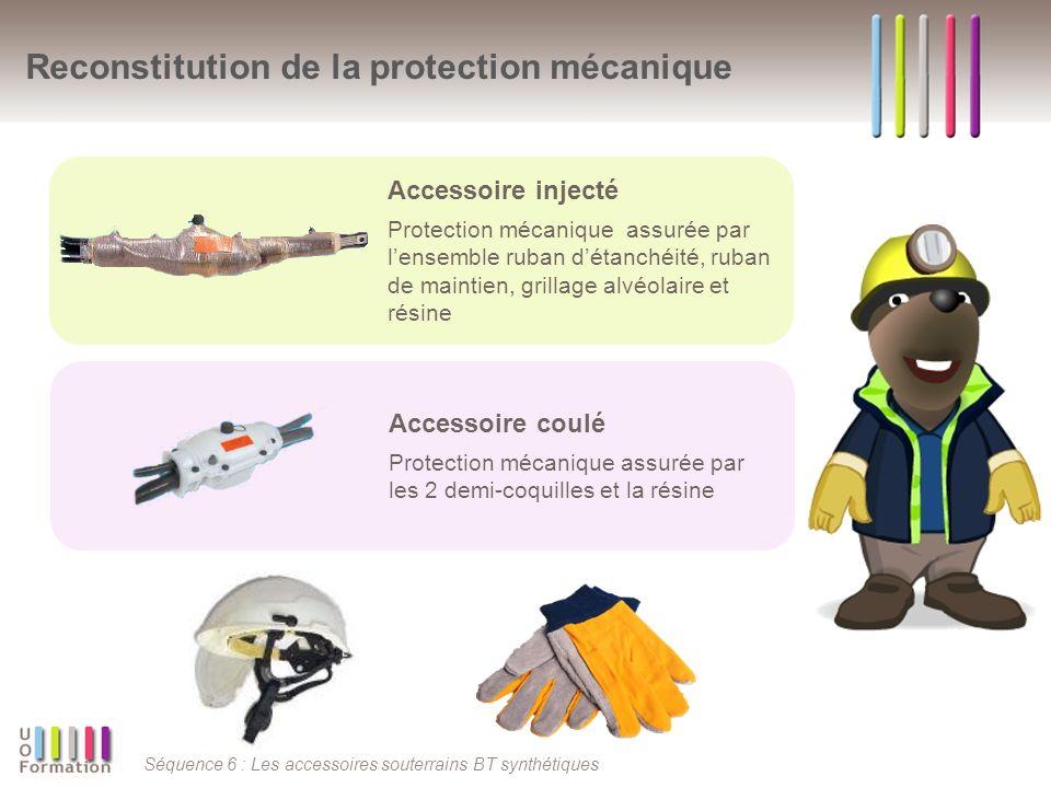 Séquence 6 : Les accessoires souterrains BT synthétiques Reconstitution de la protection mécanique Accessoire injecté Protection mécanique assurée par lensemble ruban détanchéité, ruban de maintien, grillage alvéolaire et résine Accessoire coulé Protection mécanique assurée par les 2 demi-coquilles et la résine