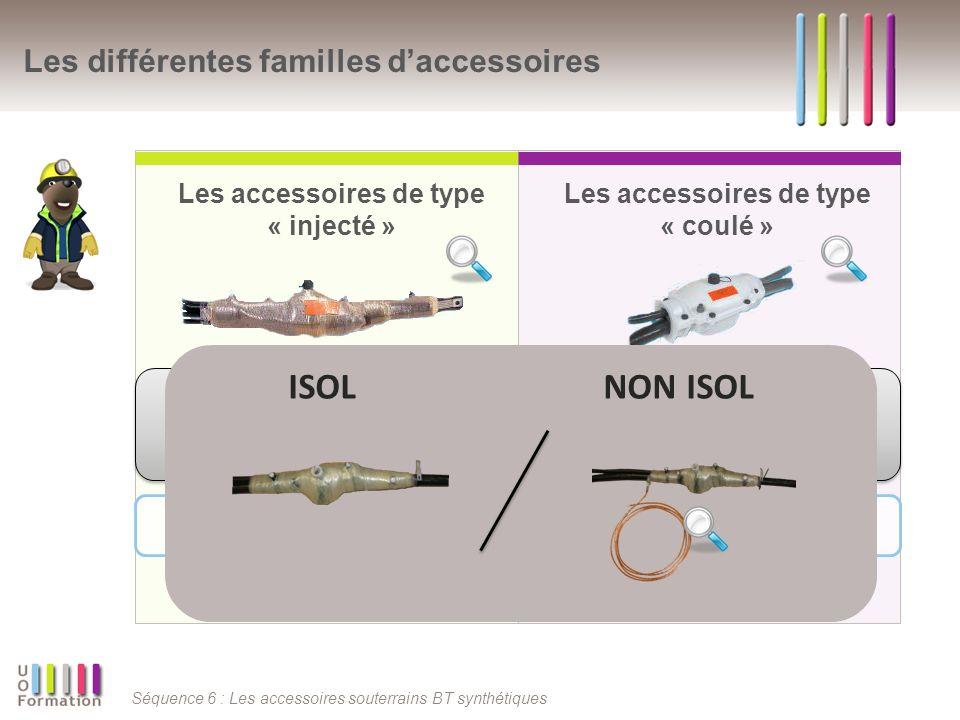 Séquence 6 : Les accessoires souterrains BT synthétiques En synthèse Les accessoires (v2006 ou non) SDI, DDI, SDC, DDC Les accessoires (v2006 ou non) JNI, JNC Branchements individuels Accessoires réseau
