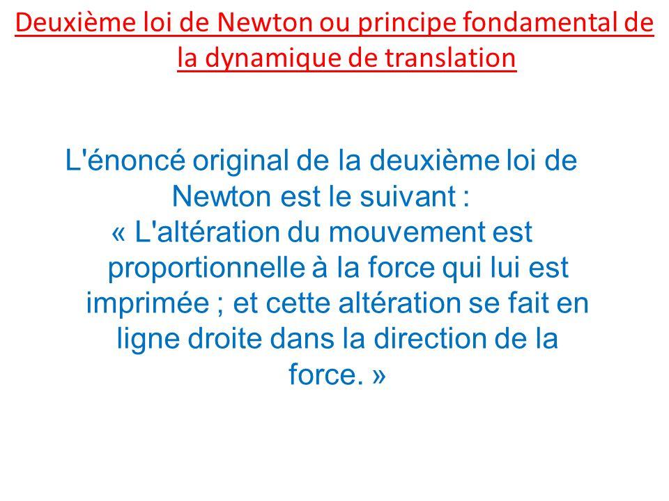Deuxième loi de Newton ou principe fondamental de la dynamique de translation L'énoncé original de la deuxième loi de Newton est le suivant : « L'alté