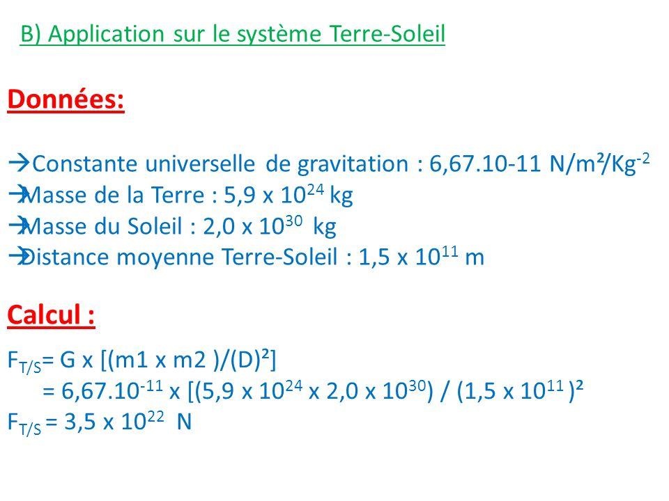 B) Application sur le système Terre-Soleil Données: Constante universelle de gravitation : 6,67.10-11 N/m²/Kg -2 Masse de la Terre : 5,9 x 10 24 kg Masse du Soleil : 2,0 x 10 30 kg Distance moyenne Terre-Soleil : 1,5 x 10 11 m F T/S = G x [(m1 x m2 )/(D)²] = 6,67.10 -11 x [(5,9 x 10 24 x 2,0 x 10 30 ) / (1,5 x 10 11 )² F T/S = 3,5 x 10 22 N Calcul :