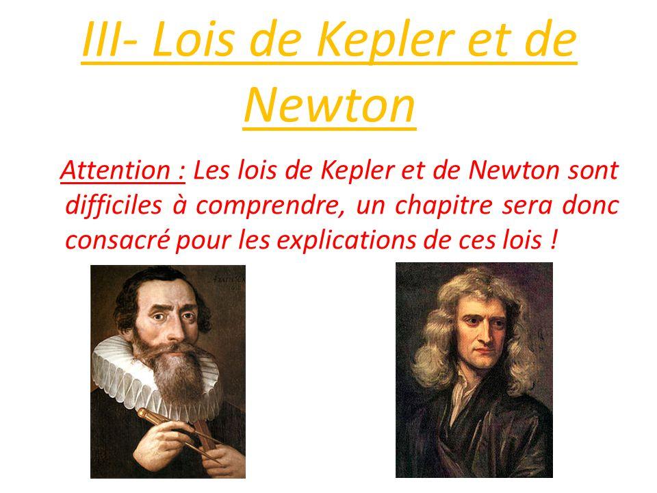 III- Lois de Kepler et de Newton Attention : Les lois de Kepler et de Newton sont difficiles à comprendre, un chapitre sera donc consacré pour les exp