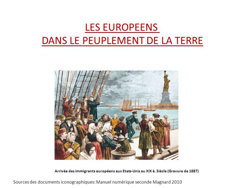 LES EUROPEENS DANS LE PEUPLEMENT DE LA TERRE Arrivée des immigrants européens aux Etats-Unis au XIX è. Siècle (Gravure de 1887) Sources des documents