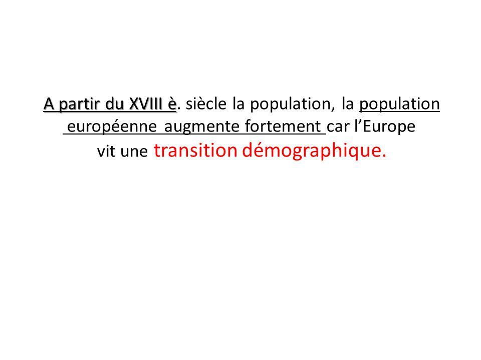A partir du XVIII è A partir du XVIII è. siècle la population, la population européenne augmente fortement car lEurope vit une transition démographiqu