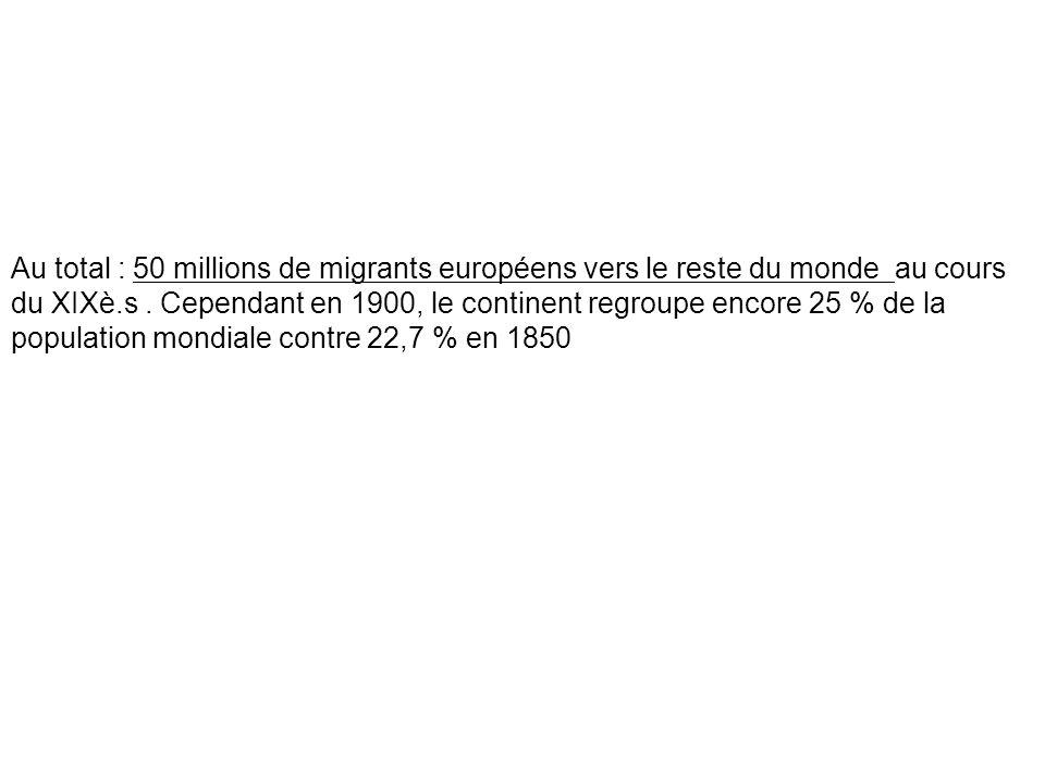 Au total : 50 millions de migrants européens vers le reste du monde au cours du XIXè.s. Cependant en 1900, le continent regroupe encore 25 % de la pop