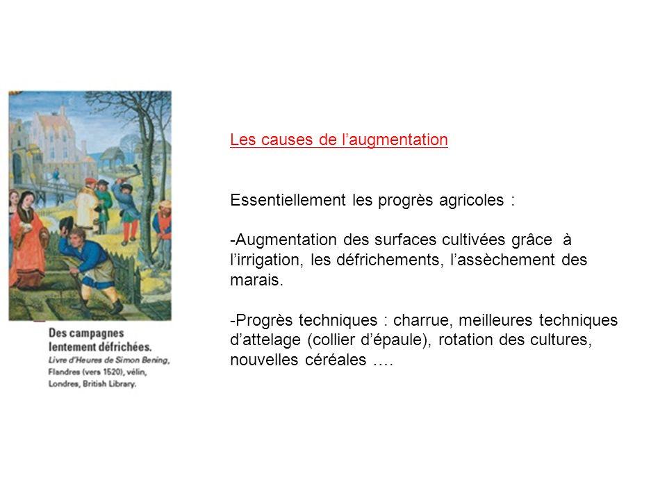 Les causes de laugmentation Essentiellement les progrès agricoles : -Augmentation des surfaces cultivées grâce à lirrigation, les défrichements, lassè