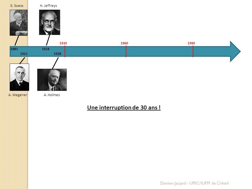 E. Suess 1883 A. Wegener 1912 A. Holmes H. Jeffreys 1924 1928 193019601990 Une interruption de 30 ans ! Damien Jaujard - UPEC/IUFM de Créteil