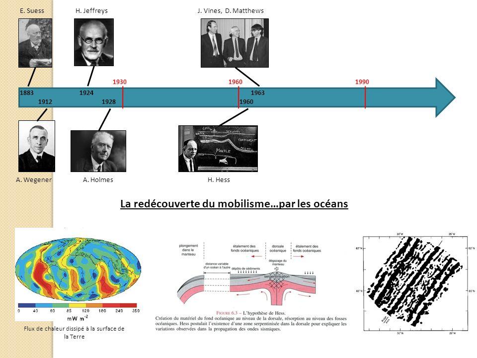 E. Suess 1883 A. Wegener 1912 A. Holmes H. Jeffreys 1924 1928 H. Hess 1960 J. Vines, D. Matthews 1963 193019601990 La redécouverte du mobilisme…par le