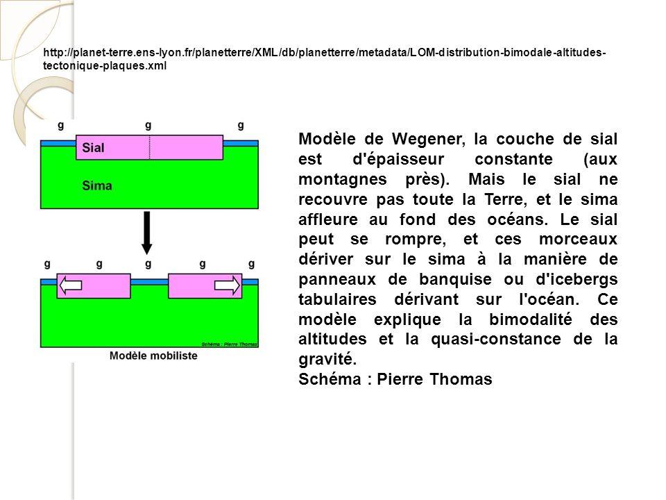 Modèle de Wegener, la couche de sial est d'épaisseur constante (aux montagnes près). Mais le sial ne recouvre pas toute la Terre, et le sima affleure