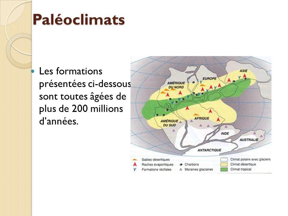 Paléoclimats Les formations présentées ci-dessous sont toutes âgées de plus de 200 millions dannées.
