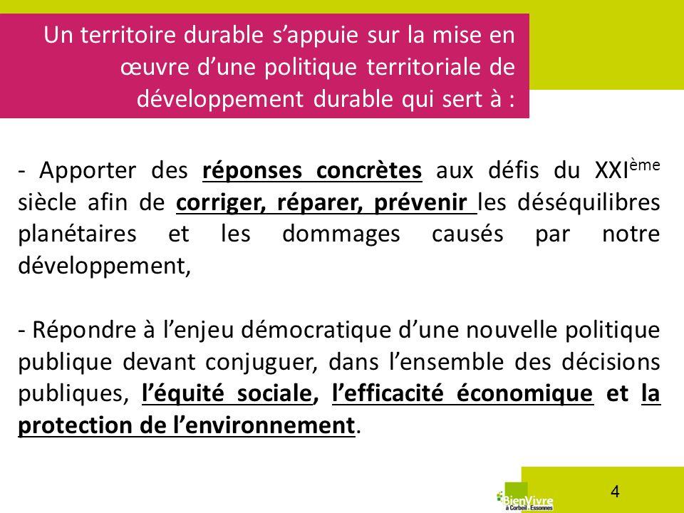 Un territoire durable sappuie sur la mise en œuvre dune politique territoriale de développement durable qui sert à : 4 - Apporter des réponses concrèt