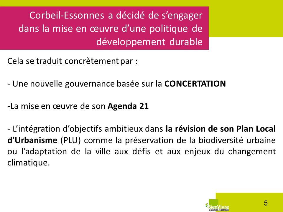 Corbeil-Essonnes a décidé de sengager dans la mise en œuvre dune politique de développement durable 5 Cela se traduit concrètement par : - Une nouvell